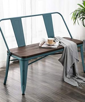 Erommy Metal Bench Industrial Mid Century 2 Person Chair With Wood SeatDining Bench With Floor Protector Blue 0 300x360