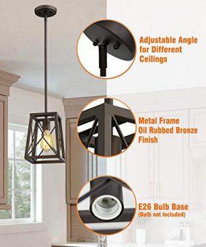 FEMILA Farmhouse Pendant Light 1 Light Metal Wire Cage Hanging Lantern Oil Rubbed Bronze Finish 4FY16 M1L ORB 0 300x360