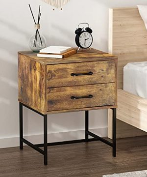 FUFUGAGA Set Of 2 Nightstand Modern Bedside Table With Black Metal Legs Minimalist And Versatile End Side Table 2 Drawers 177 W X 157 D X 228 H Rustic Brown 0 0 300x360