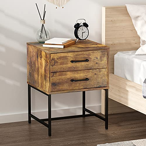 FUFUGAGA Set Of 2 Nightstand Modern Bedside Table With Black Metal Legs Minimalist And Versatile End Side Table 2 Drawers 177 W X 157 D X 228 H Rustic Brown 0 0