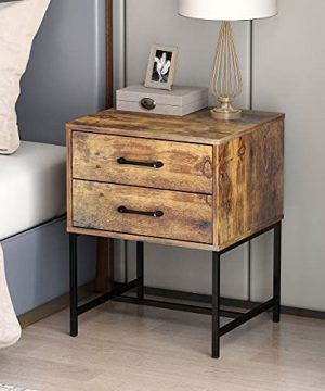 FUFUGAGA Set Of 2 Nightstand Modern Bedside Table With Black Metal Legs Minimalist And Versatile End Side Table 2 Drawers 177 W X 157 D X 228 H Rustic Brown 0 1 300x360