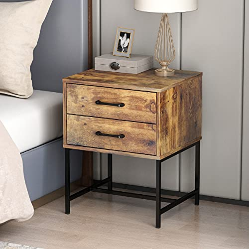 FUFUGAGA Set Of 2 Nightstand Modern Bedside Table With Black Metal Legs Minimalist And Versatile End Side Table 2 Drawers 177 W X 157 D X 228 H Rustic Brown 0 1