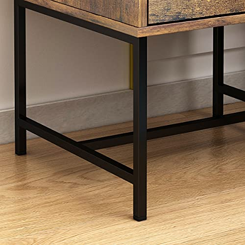 FUFUGAGA Set Of 2 Nightstand Modern Bedside Table With Black Metal Legs Minimalist And Versatile End Side Table 2 Drawers 177 W X 157 D X 228 H Rustic Brown 0 2