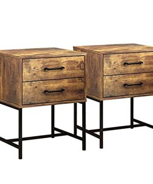 FUFUGAGA Set Of 2 Nightstand Modern Bedside Table With Black Metal Legs Minimalist And Versatile End Side Table 2 Drawers 177 W X 157 D X 228 H Rustic Brown 0 300x360
