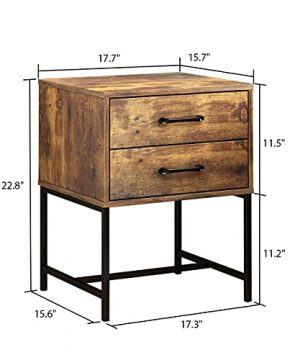 FUFUGAGA Set Of 2 Nightstand Modern Bedside Table With Black Metal Legs Minimalist And Versatile End Side Table 2 Drawers 177 W X 157 D X 228 H Rustic Brown 0 5 300x360
