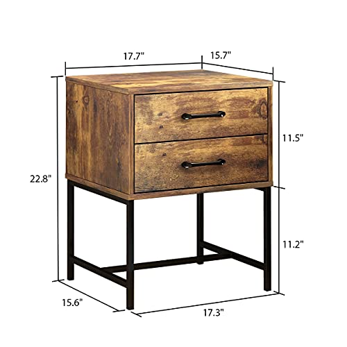 FUFUGAGA Set Of 2 Nightstand Modern Bedside Table With Black Metal Legs Minimalist And Versatile End Side Table 2 Drawers 177 W X 157 D X 228 H Rustic Brown 0 5