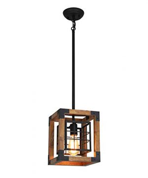 Farmhouse Pendant Light 1 Light Rustic Wood Cage Chandelier Industrial Hanging Ceiling Light Fixture For Kitchen Island Entryway Foyer Living And Dining Room 0 0 300x360
