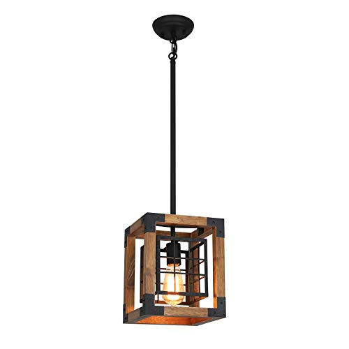Farmhouse Pendant Light 1 Light Rustic Wood Cage Chandelier Industrial Hanging Ceiling Light Fixture For Kitchen Island Entryway Foyer Living And Dining Room 0 0