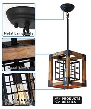 Farmhouse Pendant Light 1 Light Rustic Wood Cage Chandelier Industrial Hanging Ceiling Light Fixture For Kitchen Island Entryway Foyer Living And Dining Room 0 1 300x360