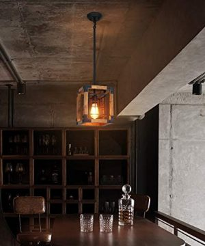 Farmhouse Pendant Light 1 Light Rustic Wood Cage Chandelier Industrial Hanging Ceiling Light Fixture For Kitchen Island Entryway Foyer Living And Dining Room 0 2 300x360