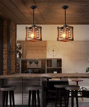 Farmhouse Pendant Light 1 Light Rustic Wood Cage Chandelier Industrial Hanging Ceiling Light Fixture For Kitchen Island Entryway Foyer Living And Dining Room 0 3 300x360
