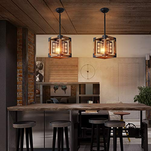 Farmhouse Pendant Light 1 Light Rustic Wood Cage Chandelier Industrial Hanging Ceiling Light Fixture For Kitchen Island Entryway Foyer Living And Dining Room 0 3