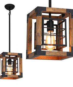Farmhouse Pendant Light 1 Light Rustic Wood Cage Chandelier Industrial Hanging Ceiling Light Fixture For Kitchen Island Entryway Foyer Living And Dining Room 0 300x360