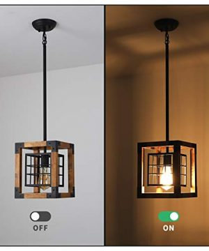 Farmhouse Pendant Light 1 Light Rustic Wood Cage Chandelier Industrial Hanging Ceiling Light Fixture For Kitchen Island Entryway Foyer Living And Dining Room 0 4 300x360