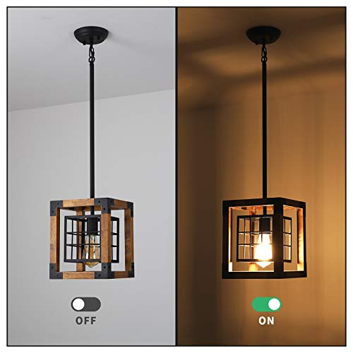 Farmhouse Pendant Light 1 Light Rustic Wood Cage Chandelier Industrial Hanging Ceiling Light Fixture For Kitchen Island Entryway Foyer Living And Dining Room 0 4