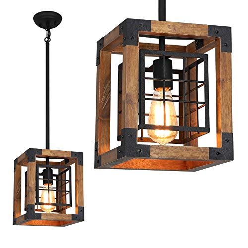 Farmhouse Pendant Light 1 Light Rustic Wood Cage Chandelier Industrial Hanging Ceiling Light Fixture For Kitchen Island Entryway Foyer Living And Dining Room 0