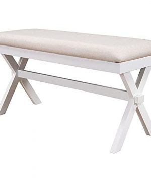 Farmhouse Rustic Wood Kitchen Upholstered Dining Bench BeigeWhite 0 300x360