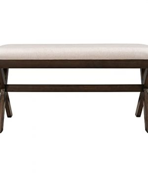 Farmhouse Rustic Wood Kitchen Upholstered Dining Bench Brown Beige 0 300x360
