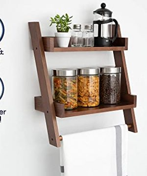 Farmhouse Shelves For Bathroom Or Kitchen With Towel Bar 2 Tier Rustic Towel Shelf For Bathroom Wall Mounted Natural Wood Easy To Assemble Over The Toilet Ladder Shelf 0 0 300x360