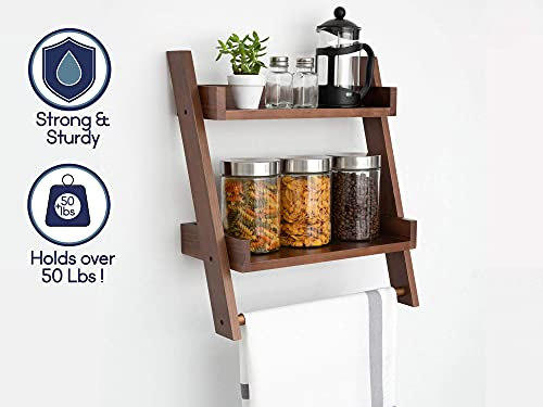 Farmhouse Shelves For Bathroom Or Kitchen With Towel Bar 2 Tier Rustic Towel Shelf For Bathroom Wall Mounted Natural Wood Easy To Assemble Over The Toilet Ladder Shelf 0 0