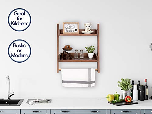Farmhouse Shelves For Bathroom Or Kitchen With Towel Bar 2 Tier Rustic Towel Shelf For Bathroom Wall Mounted Natural Wood Easy To Assemble Over The Toilet Ladder Shelf 0 3
