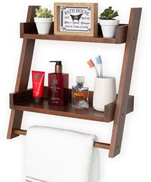 Farmhouse Shelves For Bathroom Or Kitchen With Towel Bar 2 Tier Rustic Towel Shelf For Bathroom Wall Mounted Natural Wood Easy To Assemble Over The Toilet Ladder Shelf 0 300x360