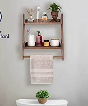 Farmhouse Shelves For Bathroom Or Kitchen With Towel Bar 2 Tier Rustic Towel Shelf For Bathroom Wall Mounted Natural Wood Easy To Assemble Over The Toilet Ladder Shelf 0 4 300x360