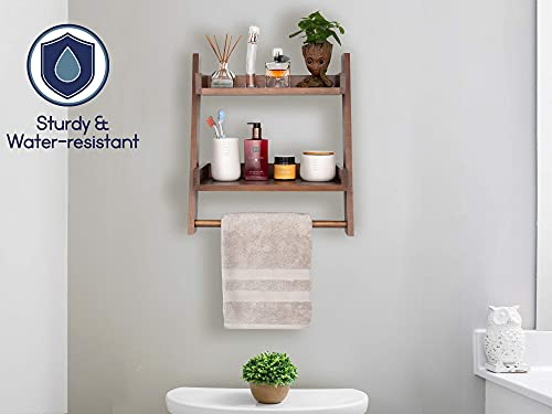 Farmhouse Shelves For Bathroom Or Kitchen With Towel Bar 2 Tier Rustic Towel Shelf For Bathroom Wall Mounted Natural Wood Easy To Assemble Over The Toilet Ladder Shelf 0 4