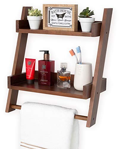 Farmhouse Shelves For Bathroom Or Kitchen With Towel Bar 2 Tier Rustic Towel Shelf For Bathroom Wall Mounted Natural Wood Easy To Assemble Over The Toilet Ladder Shelf 0