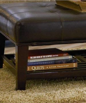 Faux Leather Tufted Ottoman With Storage Shelf Brown And Cappuccino 0 0 300x360