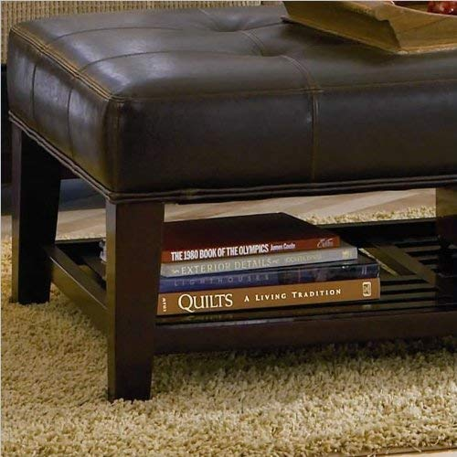 Faux Leather Tufted Ottoman With Storage Shelf Brown And Cappuccino 0 0