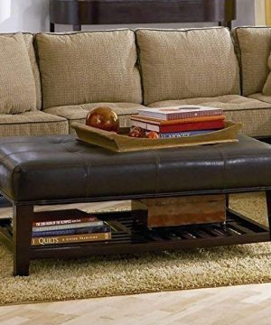 Faux Leather Tufted Ottoman With Storage Shelf Brown And Cappuccino 0 1 300x360