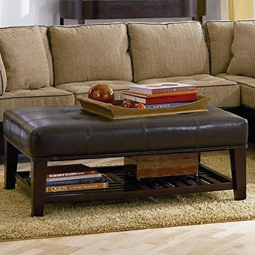 Faux Leather Tufted Ottoman With Storage Shelf Brown And Cappuccino 0 1