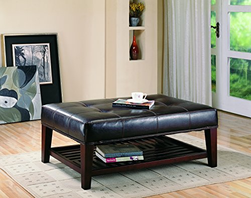 Faux Leather Tufted Ottoman With Storage Shelf Brown And Cappuccino 0