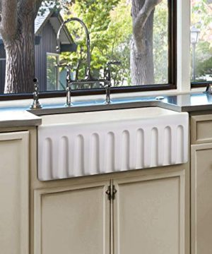 Fireclay Sink Single Bowl Farmhouse Apron Kitchen Sink Flat Or Fluted Reversible Installation Option White 36 Inch 0 300x360