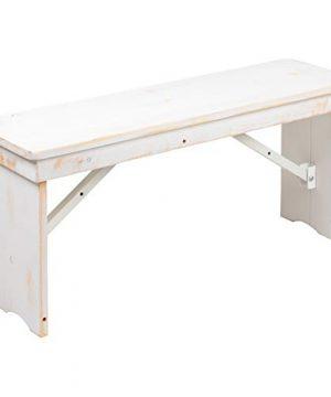 Flash Furniture HERCULES Series 40 X 12 Antique Rustic White Solid Pine Folding Farm Bench 0 300x360