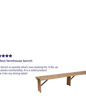 Flash Furniture HERCULES Series 8 X 12 Antique Rustic Solid Pine Folding Farm Bench With 3 Legs 0 1 300x360