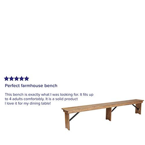 Flash Furniture HERCULES Series 8 X 12 Antique Rustic Solid Pine Folding Farm Bench With 3 Legs 0 1