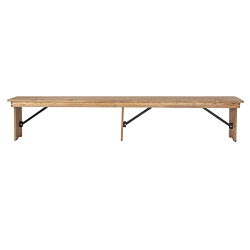 Flash Furniture HERCULES Series 8 X 12 Antique Rustic Solid Pine Folding Farm Bench With 3 Legs 0 2