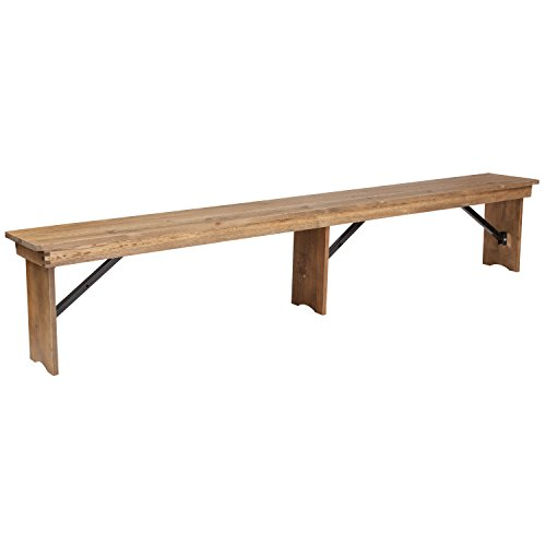 Flash Furniture HERCULES Series 8 X 12 Antique Rustic Solid Pine Folding Farm Bench With 3 Legs 0