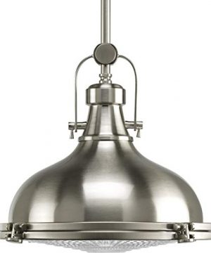 Fresnel Lens Collection Brushed Nickel One Light Industrial Hanging Pendant Light 0 300x360
