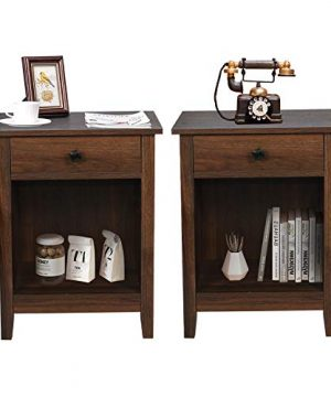 GBU Bedroom Nightstands Set Of 2 Wooden Night Stands With Drawer For Home Bedside End Table Large Storage Furniture Brown Wood Grain 0 300x360