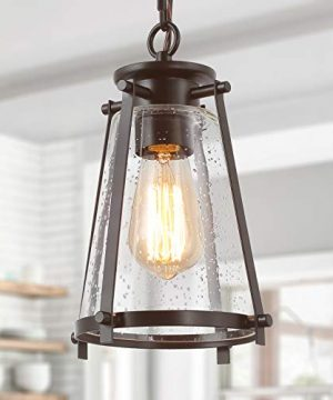 GEPOW Farmhouse Pendant Lighting For Kitchen Island Rustic Hanging Light Fixture With Seeded Glass Shade For Bedroom Foyer And Entryway Bronze 0 300x360