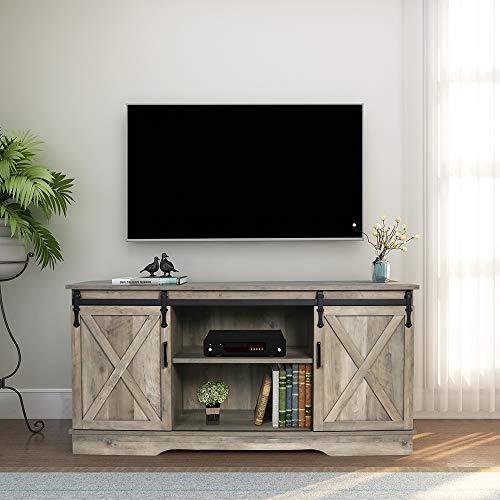 GHQME Sliding Barn Door TV Stand58 Inch Storage TableWood Universal StandLiving Room Storage Shelves Entertainment Center 0