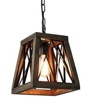 Giluta Rustic Pendant Light Farmhouse Metal Wood Chandelier Industrial Look Hanging Ceiling Light Fixture Unique Trapezoid Shape Pendant For Kitchen Living Room Foyer Bronze Finished 0 300x360