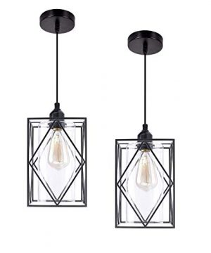 HMVPL Pendant Lighting Fixture Set Of 2 Black Farmhouse Hanging Chandelier Lights With Glass Shade Mini Industrial Ceiling Lamp For Kitchen Island Dining Room Over Sink Hallway Bedroom 0 300x360