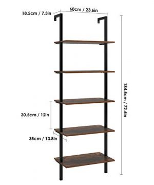 HOMFA 5 Tier Industrial Ladder Shelf Against The Wall 726 Inches Display Storage Rack Plant Flower Stand Utility Organizer Bookshelf Wood Look Accent Metal Frame Furniture Home Office 0 0 300x360