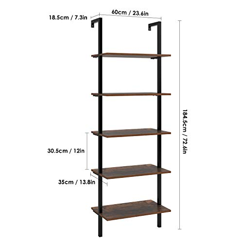 HOMFA 5 Tier Industrial Ladder Shelf Against The Wall 726 Inches Display Storage Rack Plant Flower Stand Utility Organizer Bookshelf Wood Look Accent Metal Frame Furniture Home Office 0 0