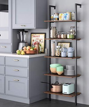 HOMFA 5 Tier Industrial Ladder Shelf Against The Wall 726 Inches Display Storage Rack Plant Flower Stand Utility Organizer Bookshelf Wood Look Accent Metal Frame Furniture Home Office 0 1 300x360