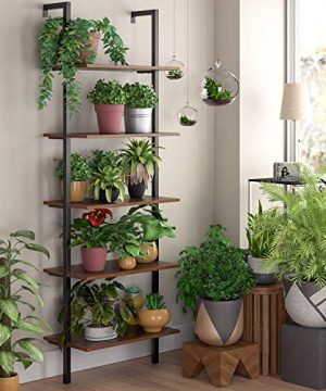 HOMFA 5 Tier Industrial Ladder Shelf Against The Wall 726 Inches Display Storage Rack Plant Flower Stand Utility Organizer Bookshelf Wood Look Accent Metal Frame Furniture Home Office 0 2 300x360